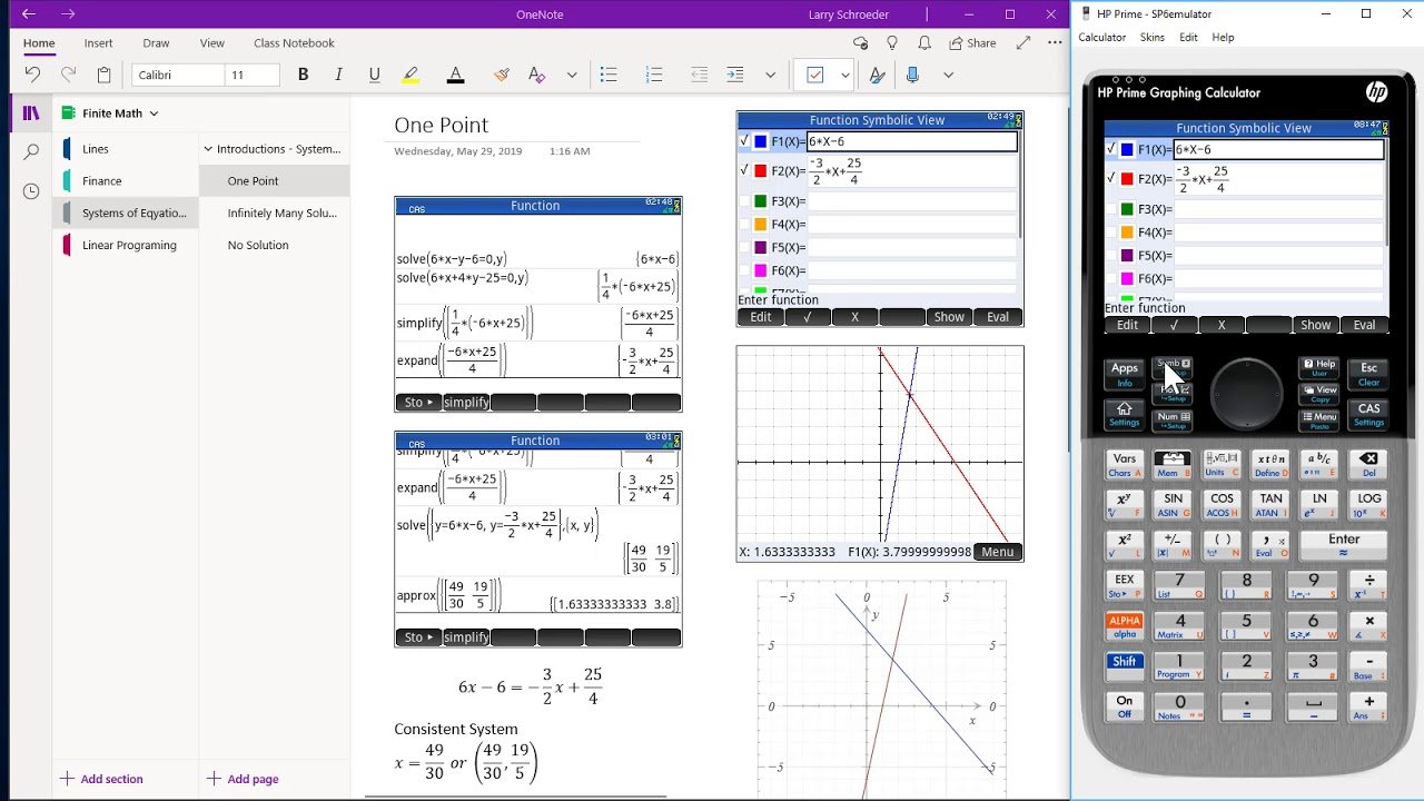 HP Prime Onenote Systrem of Linear Equation One Point Solution