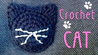Кот крючком: схема аппликации крючком/ Crochet cat: applique crochet pattern