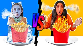 HOT VS COLD FOOD CHALLENGE | Jancy Family