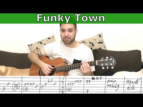 Fingerstyle Tutorial: Funky Town (Full Instrumental) - Guitar Lesson w/ TAB