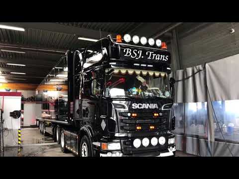 Briliant Result! Black Scania V8 from dull to dark Black & shiny with ProNano Non contact Truck Wash