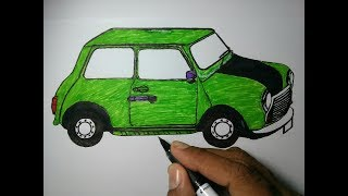 How to draw Mr Bean car-drawing step by step for kids beginners