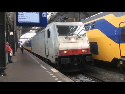 Traxx + NS Intercity Direct Rijdt Langzaam Weg Uit Amsterdam Centraal 02-05-16