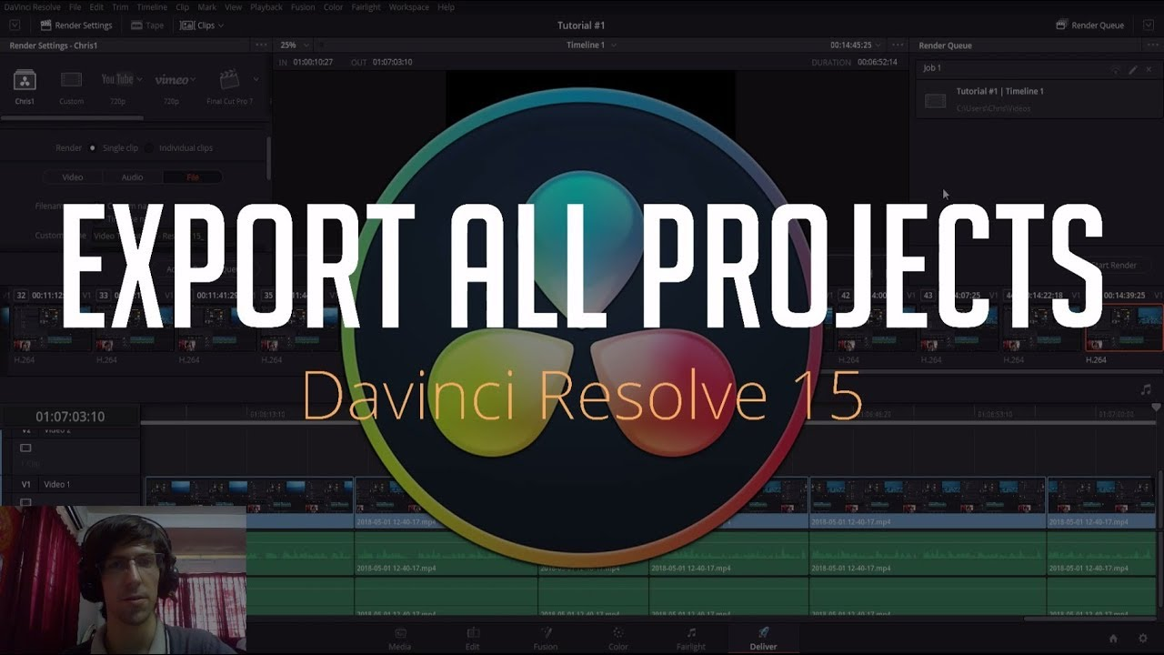 How to Export All Video Projects at Once   DaVinci Resolve 15 Tutorial
