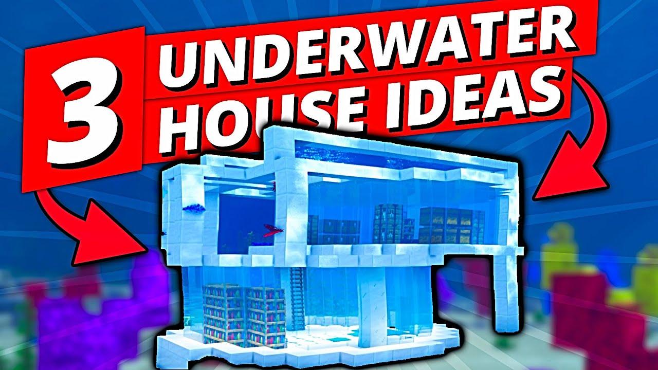 Minecraft: 3 UNDERWATER HOUSE Ideas   Minecraft Timelapse