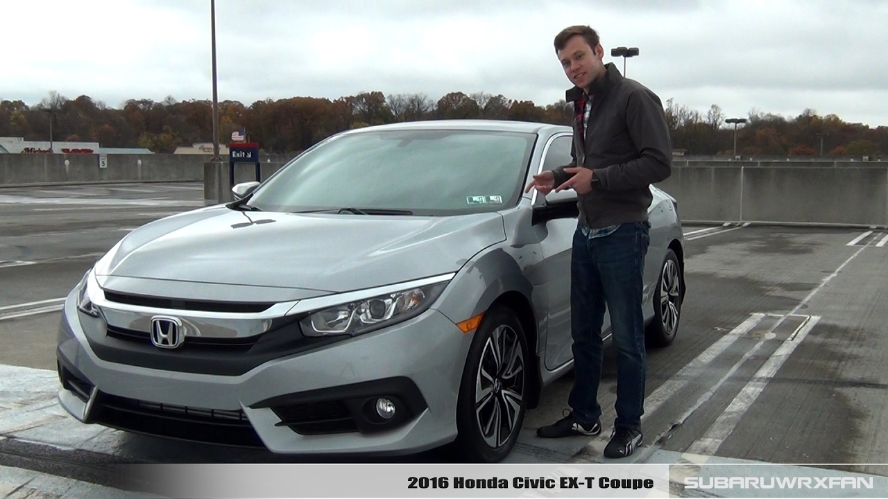 Review 2016 honda civic ex t coupe youtube for 2016 honda civic ex t review