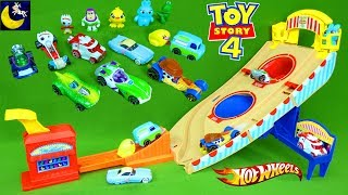 Toy Story 4 Hotwheels Cars Race Track Carnival Games Play Set Surprise Blind Bags Mini Figures Toys
