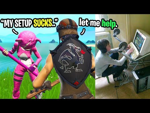 This kid has the WORST gaming setup ever so I gave him MONEY for a new one in Fortnite...