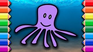 Coloring and drawing cute sea creatures octopus starfish shark whale dolphin Awesome coloring pages