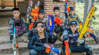 LTT Game Nerf War : Couple Winter Warriors SEAL X Nerf Guns Fight Criminal Group Rocket Bald