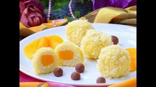 Праздничные творожные шарики с персиками