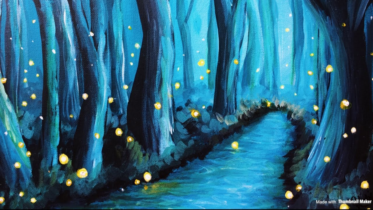 Firefly Jar Art Painting A Twilight Forest With Fireflies