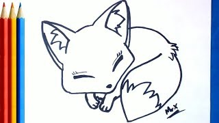 How to Draw a Fox Step by Step - Cute so easy Tutorial