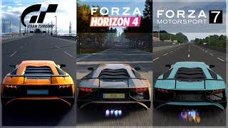 Forza Horizon 4 vs GT Sport vs Forza 7  Lamborghini Aventador SV Sound Comparison