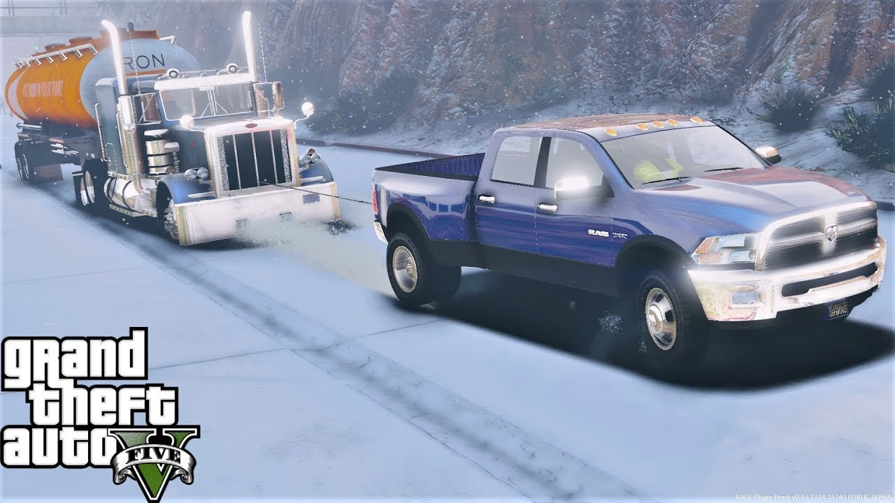 GTA 5 Real Life Mod #119 Dodge Ram 3500 Pulling Semi & Tractor Trailer Up A  Hill During A Snow Storm