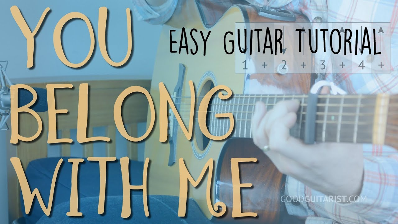 You Belong With Me Easy Guitar Lesson Full Playalong Taylor