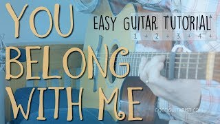 """You Belong With Me"" Easy Guitar Lesson + FULL Playalong 