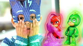 PJ Masks in Real Life: GIANT Catboy vs Tiny Toys Gekko and Owlette! ⚡️ Halloween PJ Masks
