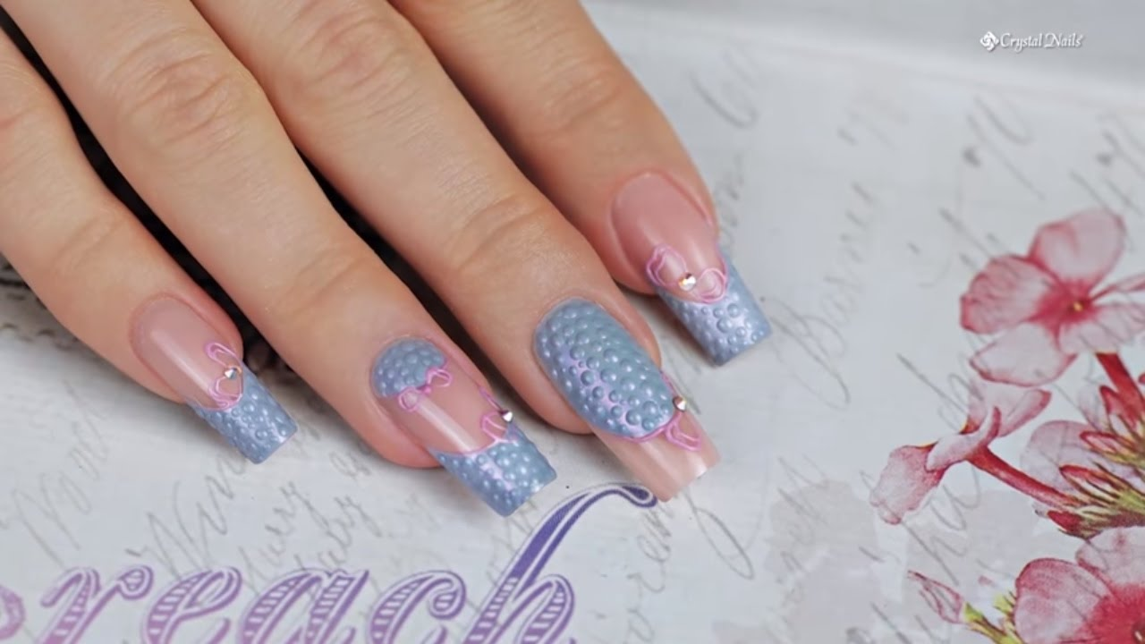 Acrylic Nails With Royal Gel Decorations