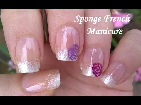 Sponge Nail Art White Pearl Nails With Roses In French Manicure Design
