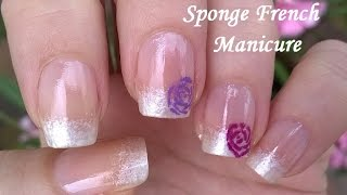 Sponge Nail Art / White Pearl Nails With Roses / Ombre French Manicure