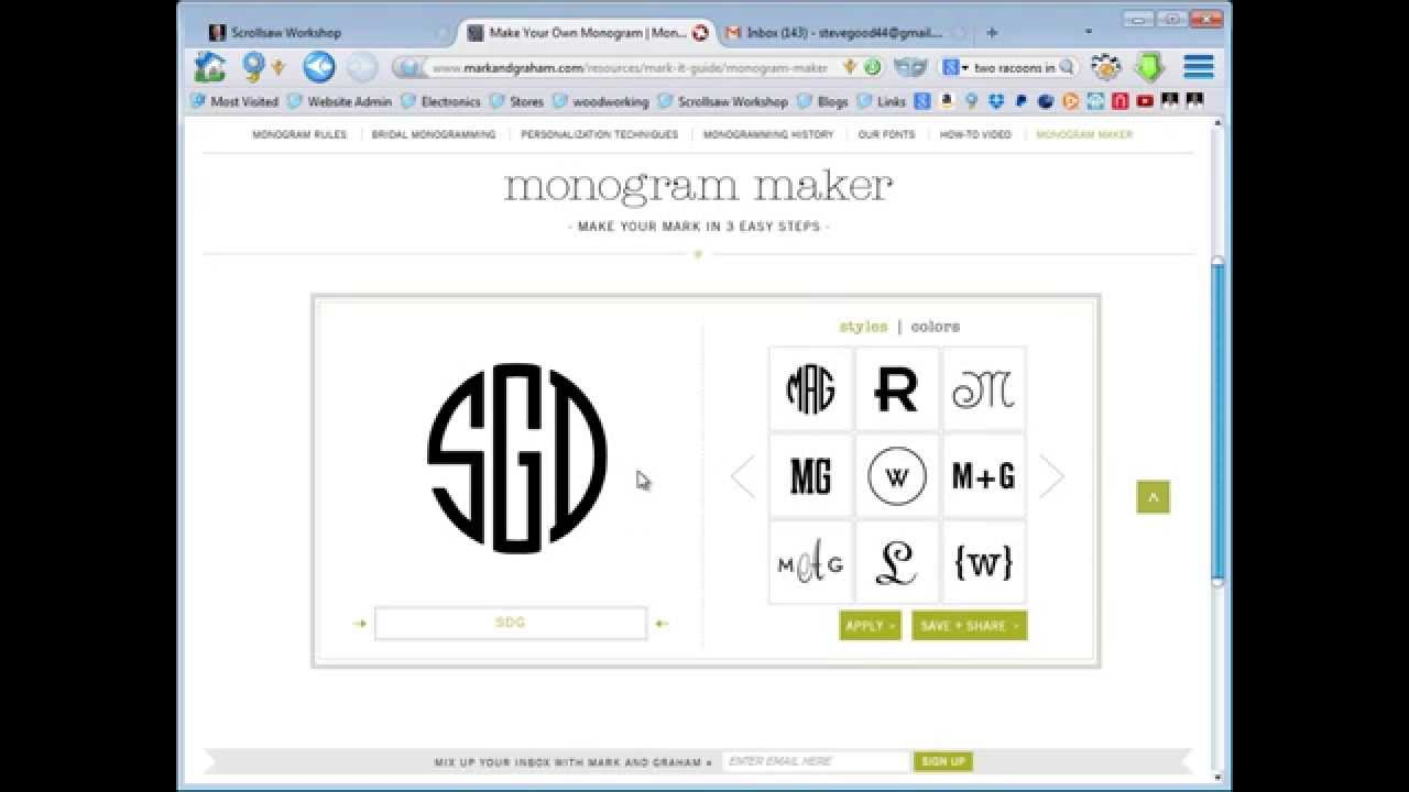 monogram maker for scroll saw projects