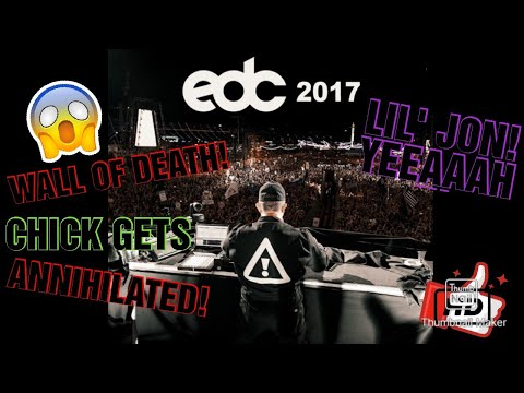 Flosstradamus Lil' Jon at EDC 2017 Wall of Death/Mosh Pit (CHICK GETS DESTROYED IN PIT)