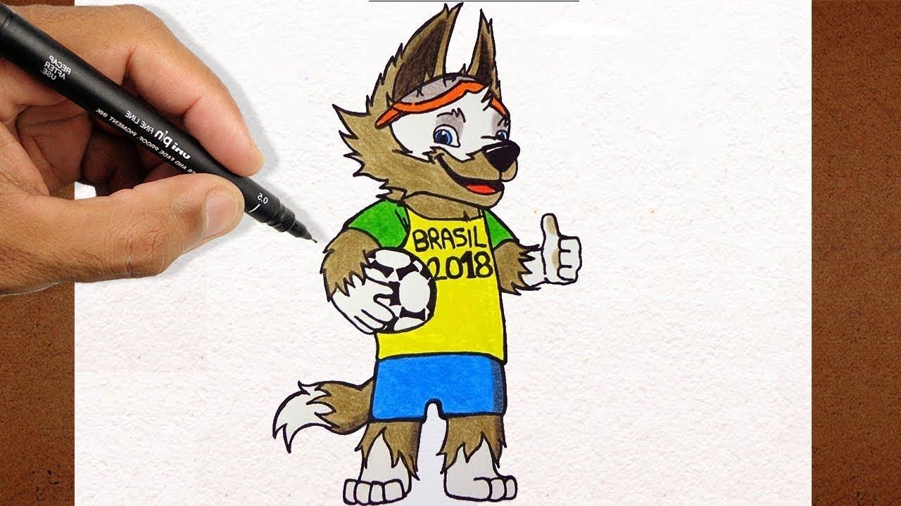 Como Desenhar E Pintar Mascote Da Copa Camisa Do Brasil Russia