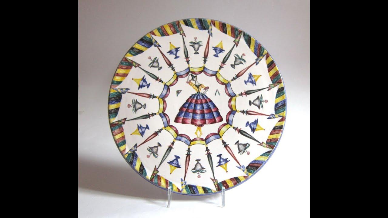 Piatti in ceramica maiolica decorati a mano cm 34 36 for Piatti decorati