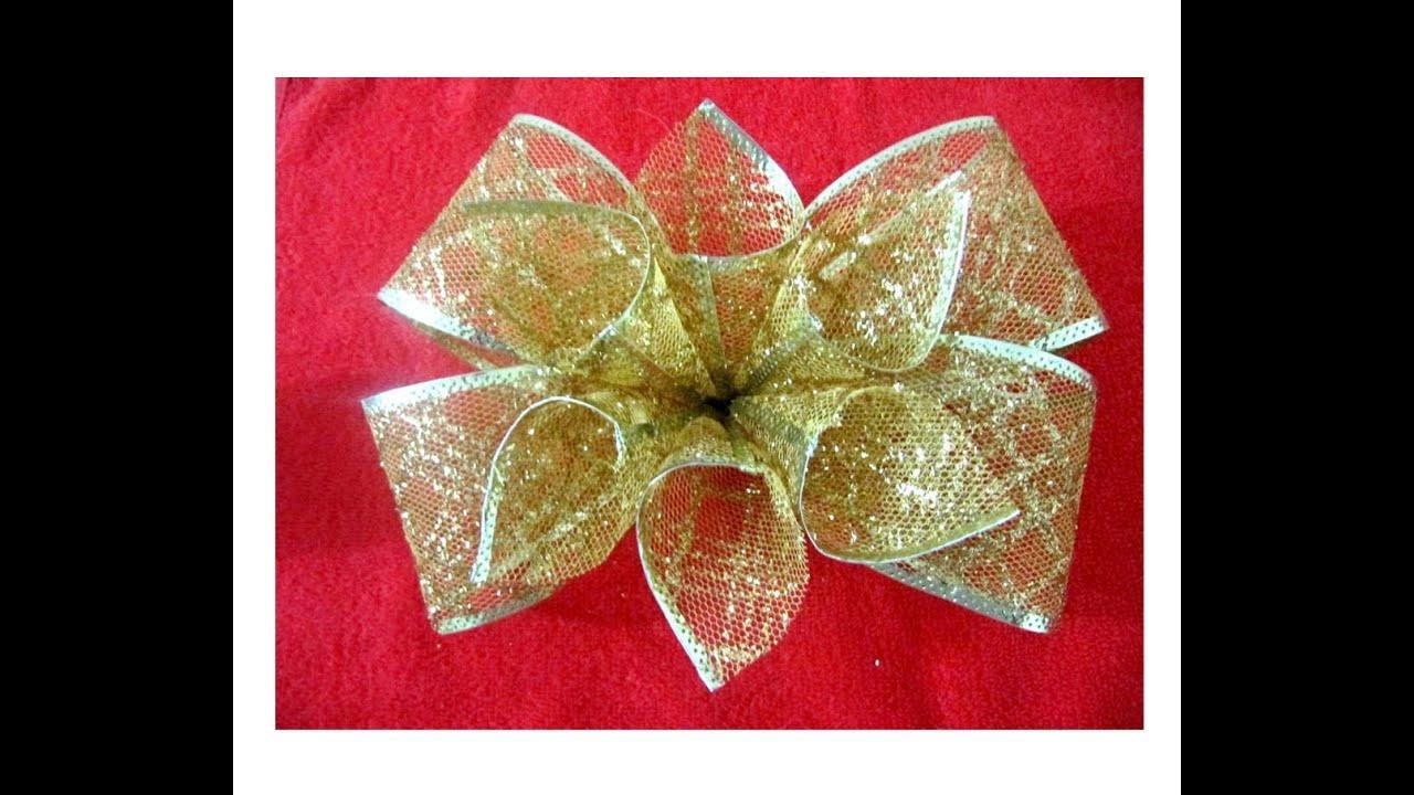 Mo os navide os con flores en cintas de organza youtube - Cintas navidad para arbol ...