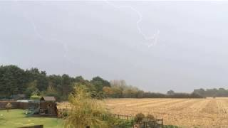 Close lightning strikes from a small thunderstorm - Bedford, UK (27th September 2019)