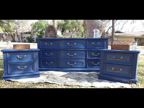 Furniture Makeover: Navy Blue Dresser Set: DIY painting