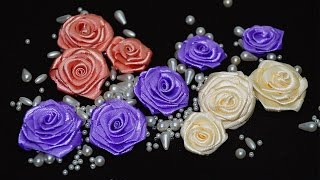 How to make satin ribbon roses / DIY ribbon flowers tutorial / diy kanzashi / DIY beauty and easy