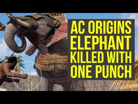 Assassin's Creed Origins Elephant KILLED WITH ONE PUNCH (AC Origins elephant)