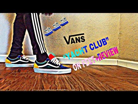 vans old skool yacht club on feet