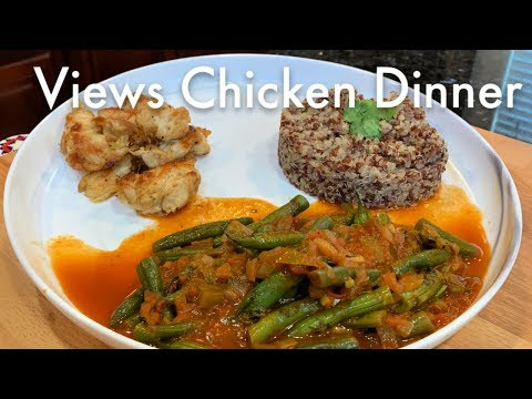 Butter Seared Chicken Mexican Style Green Beans in Tomato Sauce & Quinoa Dinner