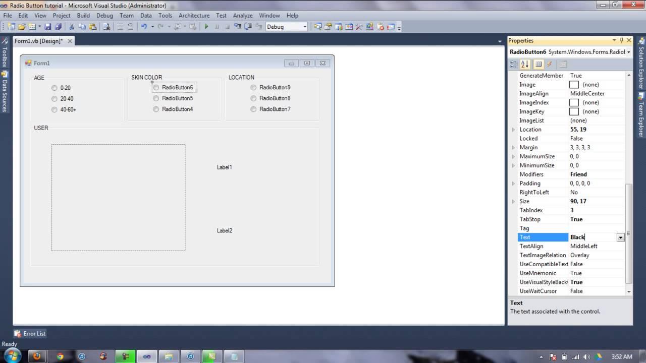 simple radiobutton example tutorial visual basic 2010 - Visual Basic Beispiele