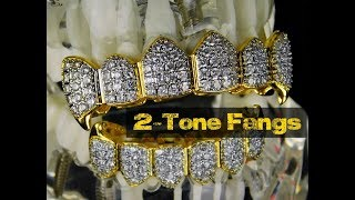 Vampire Grillz Set CZ Bling Fangs 2-Tone Teeth Hip Hop Mouth Grillz