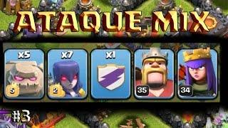 ATAQUE MIX: GOLEM, BRUJAS, DUENDES y HEROES - A por todas con Clash of Clans - Español - CoC