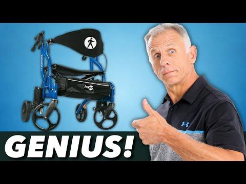 Genius! A 4-Wheeled Walker & Transport Chair in One- Hugo Navigator