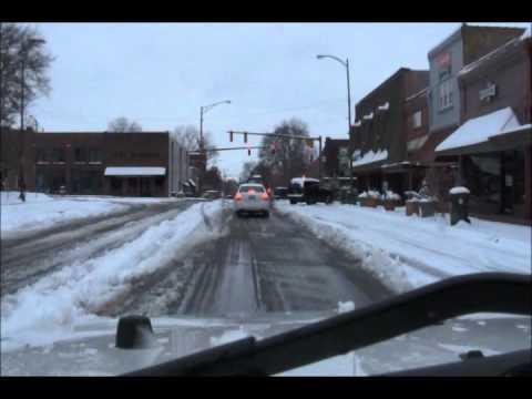 Snowy Downtown Athens Alabama