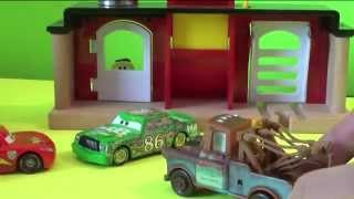McQueen, Mater and Batman saves Luigi from Chick Hicks