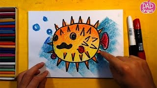 How to draw a Blowfish (Pufferfish) / Art for Kids / step by step / speed drawing