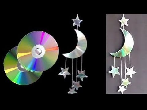 How to make MOON🌙 and STAR⭐ Waste CD || Room Decor || DIY Waste CD Crafts