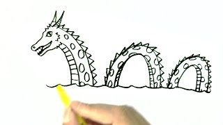 How to draw The Loch Ness Monster, or Nessie - in easy steps for children. beginners