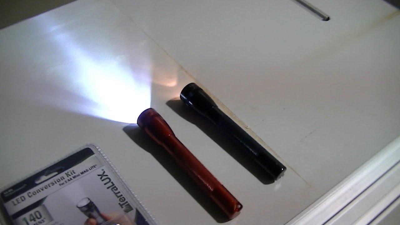 Mini Mag Lite Led Conversion Kit Terralux 140 Lumans Youtube