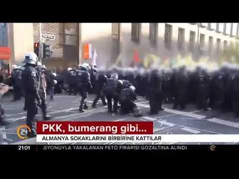 Düsseldorf'da gösteri düzenleyen terör örgütü PKK yandaşları polisle çatıştı