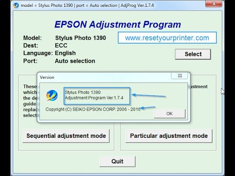 Epson SP1390 (with NEW Tiny Board) Resetter (Adjustment Program)