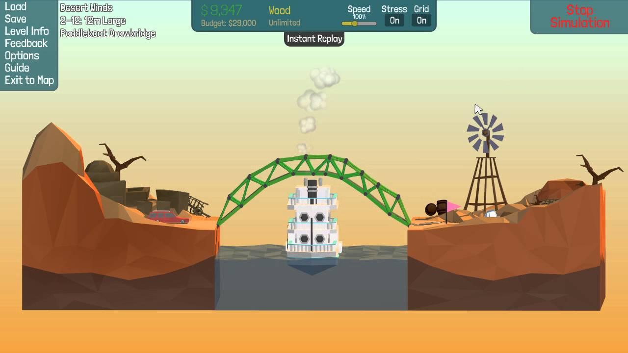 poly bridge desert winds 2 12 under budget solution 12m large paddleboat drawbridge youtube. Black Bedroom Furniture Sets. Home Design Ideas