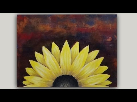 Acrylic painting black eyed susan flower on an abstract for Acrylic painting on black background
